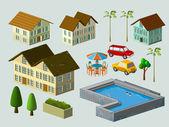 Suburban House complete — Stock Vector