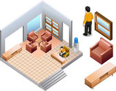 Isometric of living office interior — Stock Vector