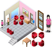 Isometric of living home interior — Stock Vector