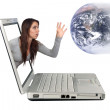 Attractive Brunette Reaching From a Laptop (3) — Stock Photo