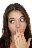 Attractive Embarrassed Brunette (2) — Stock Photo
