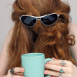 Beautiful Redhead with Coffee Mug (3) - Stock Photo