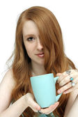 Beautiful Redhead with Coffee Mug (2) — Stock Photo