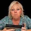 Mature Blonde Woman with Cell Phone and a Handgun (4) — Photo