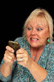 Mature Blonde Woman with Cell Phone (6) — Stock Photo