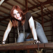 Cute Redhead in a Derelict Building (4) — Stock Photo #11465211