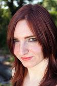 Lovely Redhead Outdoor Headshot (3) — Stockfoto