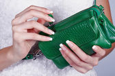 Female hands with manicure with handbag — Stock Photo