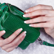 Female hands with manicure with handbag — Stock Photo #11314339