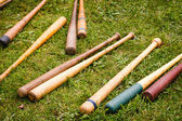 Vintage Baseball Bats Scattered on the Ground — 图库照片