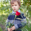 Sad little boy holding red rose in her hand,  park - Stock Photo