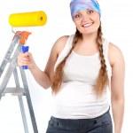 Pregnant woman and repair, studio — Stock Photo #11605194