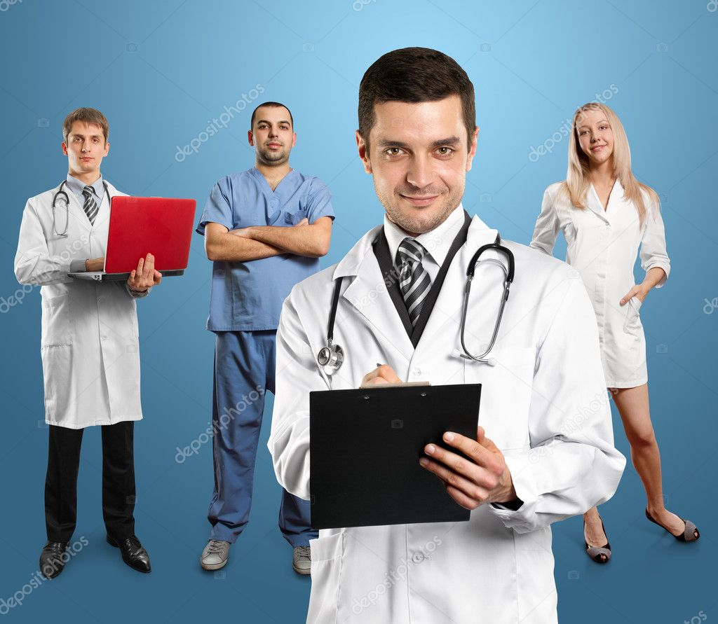 Doctor man with stethoscope and clipboard with his employee  Stock Photo #11035053