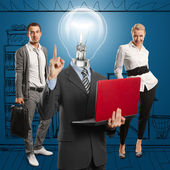 Lamp Head Man And Business Team — 图库照片