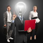 Lamp Head Man And Business Team — Stok fotoğraf