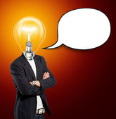 Lamp Head Businessman With Speech Bubble — Stock fotografie