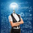 Lamp Head Business Woman — Foto Stock