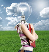Lamp Head Businesswoman with Laptop — Foto de Stock