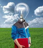 Lamp Head Man With Laptop — Foto de Stock