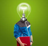 Lamp Head Man With Laptop — Стоковое фото