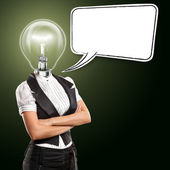 Lamp Head Business Woman With Speech Bubble — Stock Photo