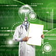 Lamp Head Doctor Man With Empty Board — Stock Photo