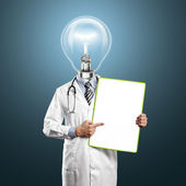 Tête de lampe médecin homme avec plateau vide — Photo