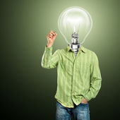 Lamp Head Businessman Writing Something — Foto de Stock