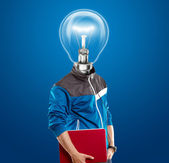 Lamp Head Man With Laptop — Zdjęcie stockowe