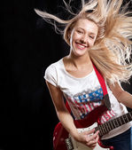 Woman Playing the Guitar — Foto de Stock