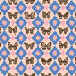 Stock Vector: Vintage Butterfly Pattern