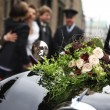 Stock Photo: Beautiful bridal bouquet on car bonnet