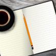 Stock Photo: Notebook and coffee cup