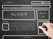 Website draadframe schets op blackboard — Stockfoto
