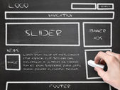 Website wireframe sketch on blackboard — Stok fotoğraf
