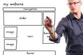 Adam beyaz tahta üzerinde web sitesi tel kafes çizim — Stok fotoğraf