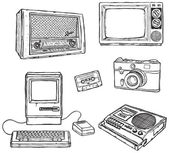 Old media equipment — Vector de stock