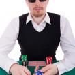 A young man is playing poker — Stock Photo