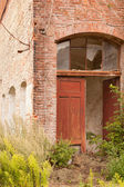 A door in an old ruined wall — Stock Photo