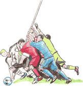 Football players battling for soccer ball, vector illustration — Stock Vector