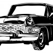 Retro car, vector illustration — Imagen vectorial