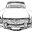 coche Retro, vista frontal, vector illustration — Vector de stock
