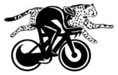 Cyclist and cheetah race, vector illustration — Stock Vector
