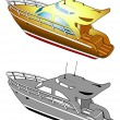 Yacht, speed boat, vector illustration — Imagen vectorial
