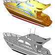 Yacht, speed boat, vector illustration — Stockvectorbeeld