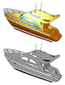 Yacht, speed boat, vector illustration — Stock Vector