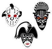 Masks, set of hockey, Venice and African masks — Stock Vector