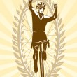 Cyclist celebrating his win, victory — Stock Vector