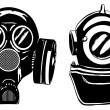 Gas mask and deep diver's helmet - Stock Vector
