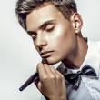 Sexy young elegant man - Stock Photo